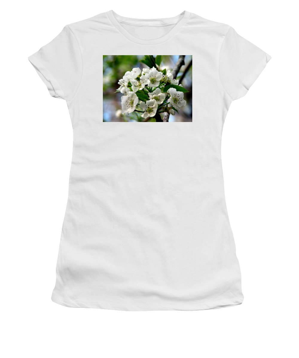 Pear Tree Blossum Women's T-Shirt (Athletic Fit) featuring the photograph Pear Tree Blossoms 1 by J M Farris Photography