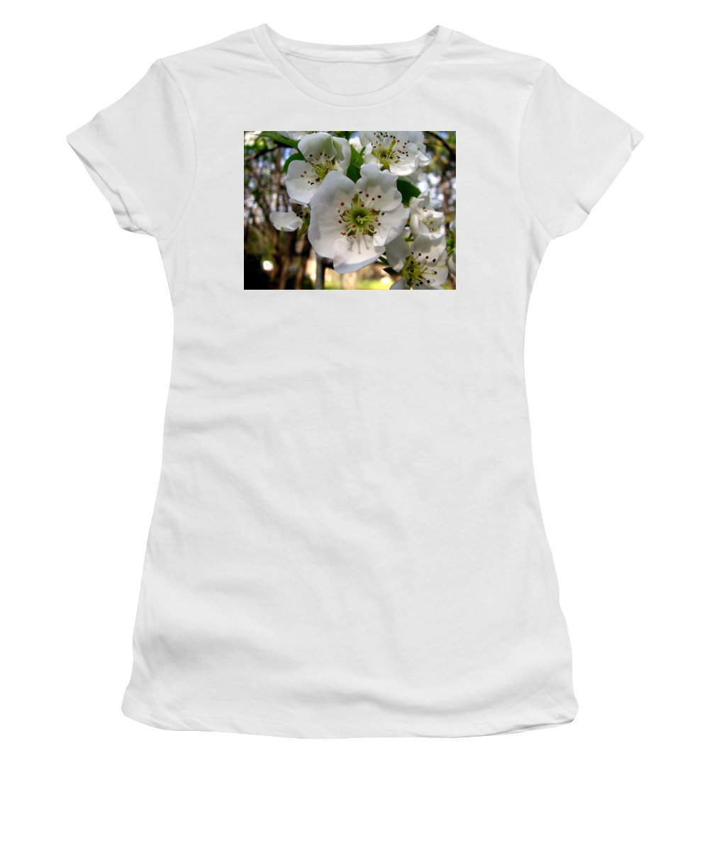 Pear Tree Blossum Women's T-Shirt (Athletic Fit) featuring the photograph Pear Tree Blossoms 3 by J M Farris Photography