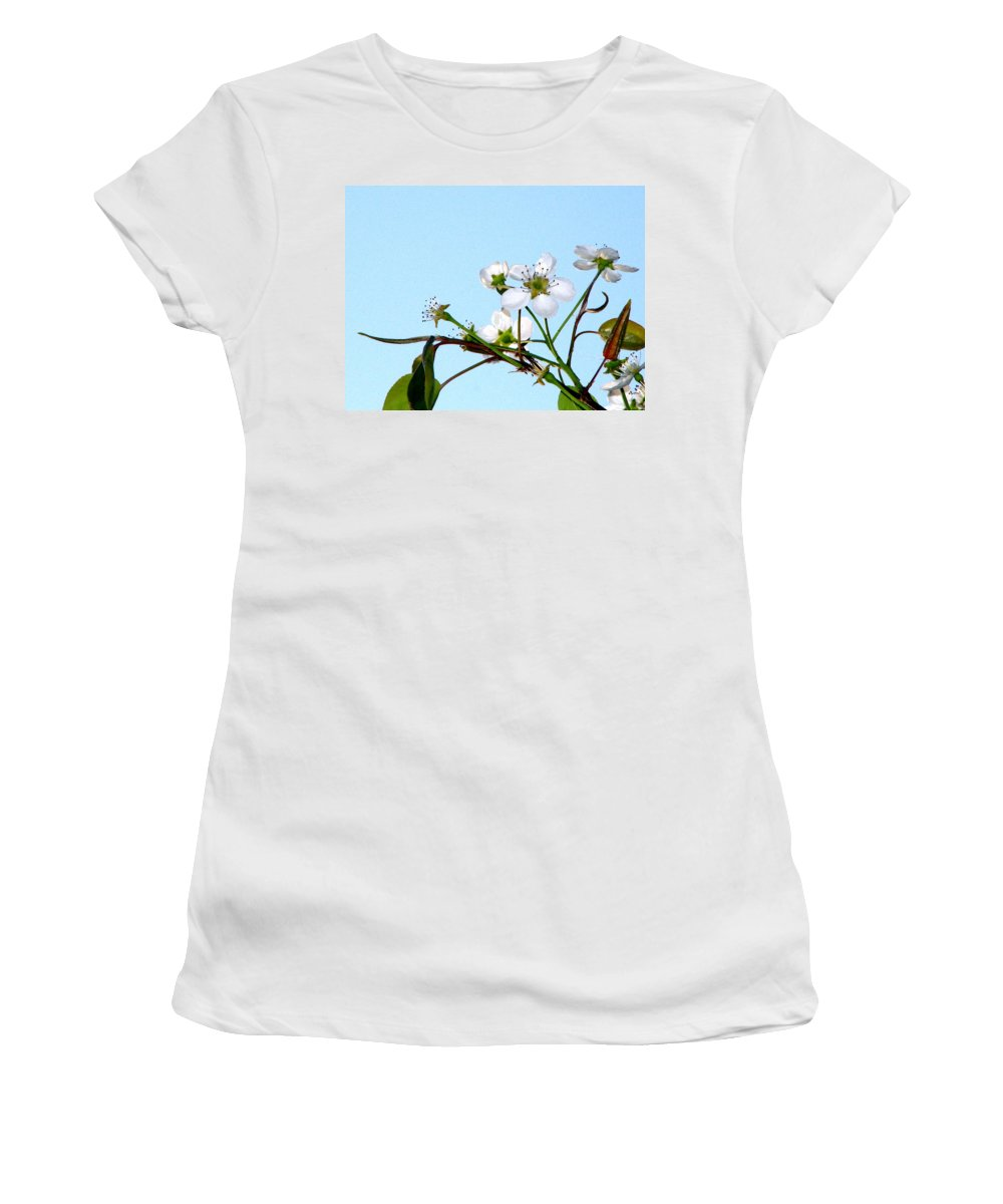 Pear Tree Blossum Women's T-Shirt (Athletic Fit) featuring the photograph Pear Tree Blossoms 4 by J M Farris Photography