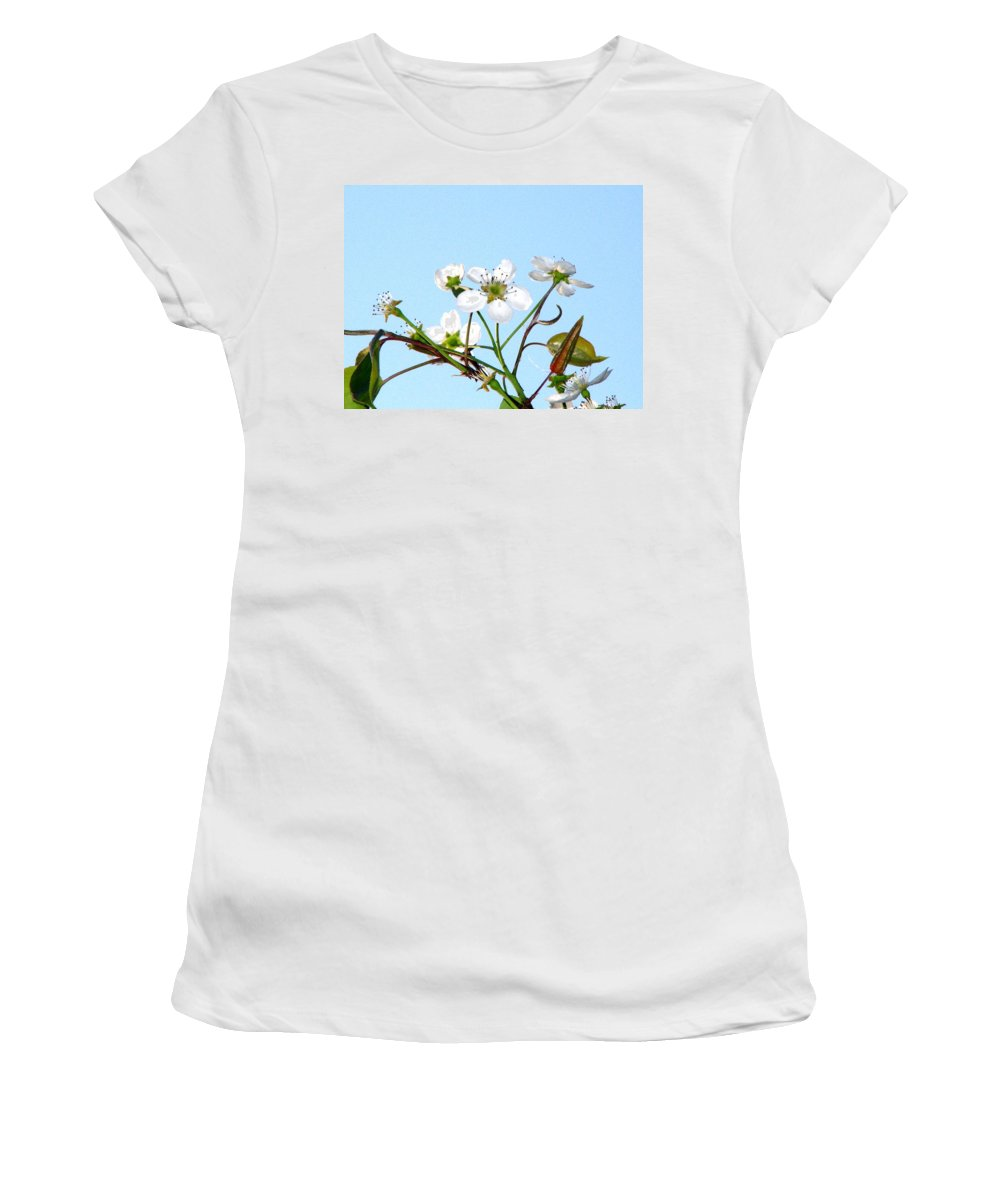Pear Tree Blossum Women's T-Shirt (Athletic Fit) featuring the photograph Pear Tree Blossoms 6 by J M Farris Photography