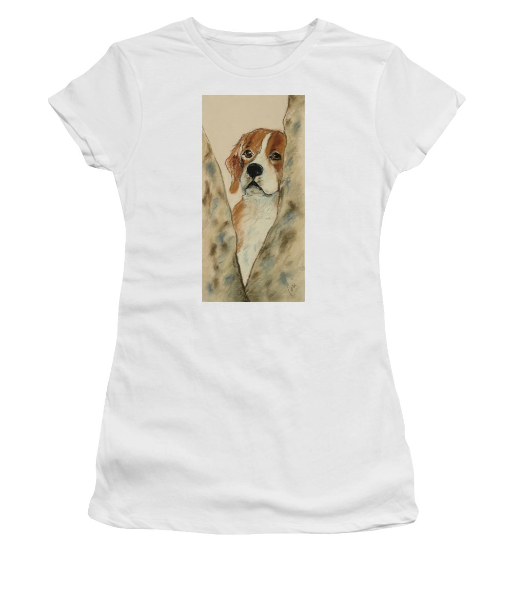 Beagle Women's T-Shirt (Athletic Fit) featuring the drawing Peek A Boo by Cori Solomon