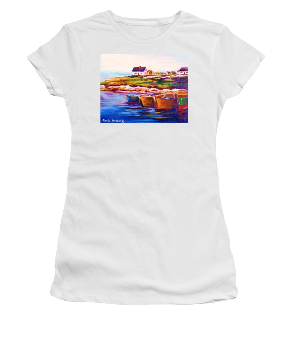 Row Boats Women's T-Shirt (Athletic Fit) featuring the painting Peggys Cove Four Row Boats by Carole Spandau