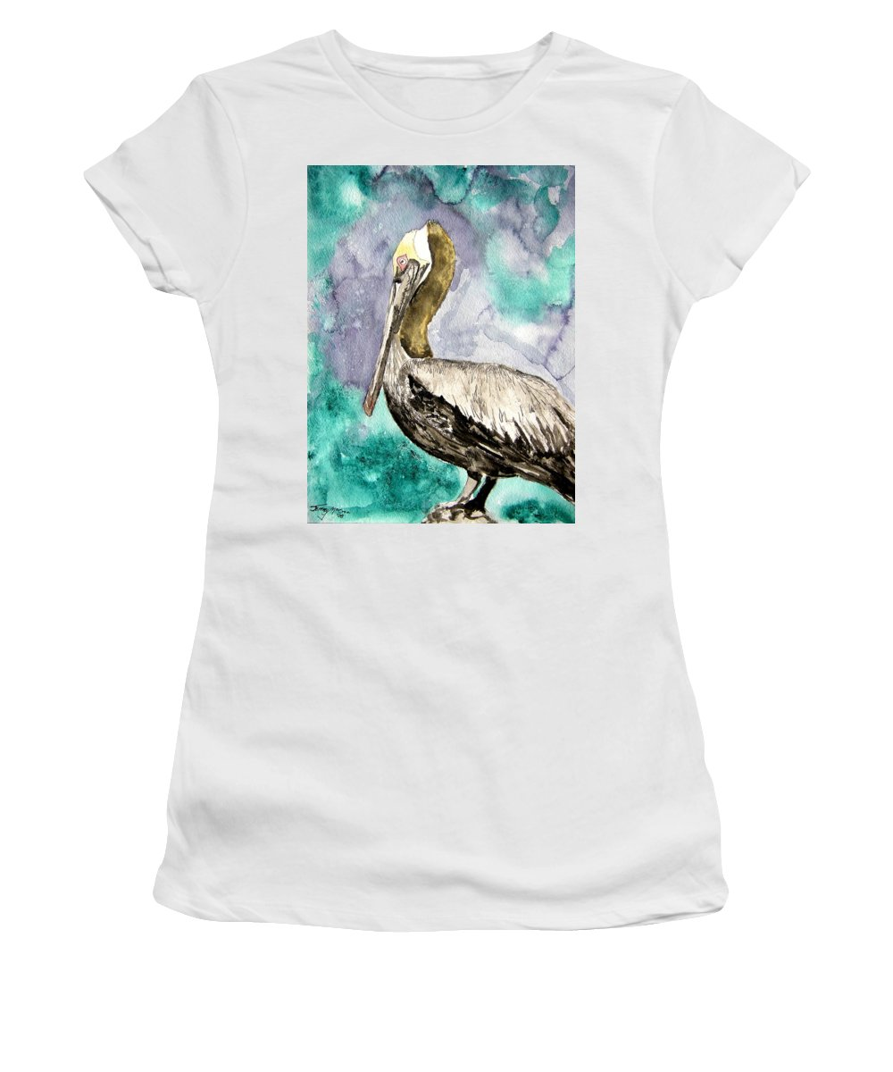 Pelican Women's T-Shirt (Athletic Fit) featuring the painting Pelican by Derek Mccrea