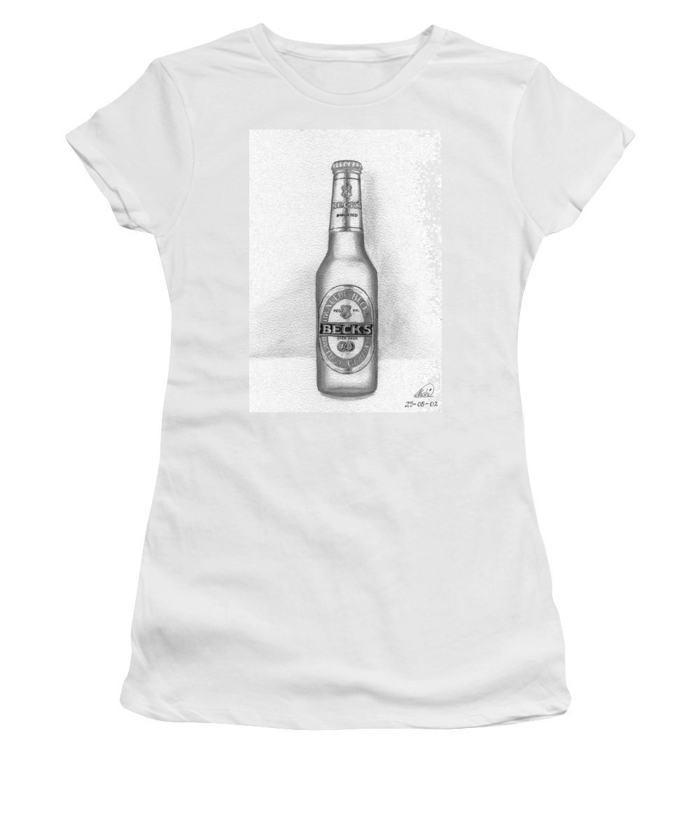 Bottle Women's T-Shirt featuring the drawing Pencil Work For My Art School by Alban Dizdari