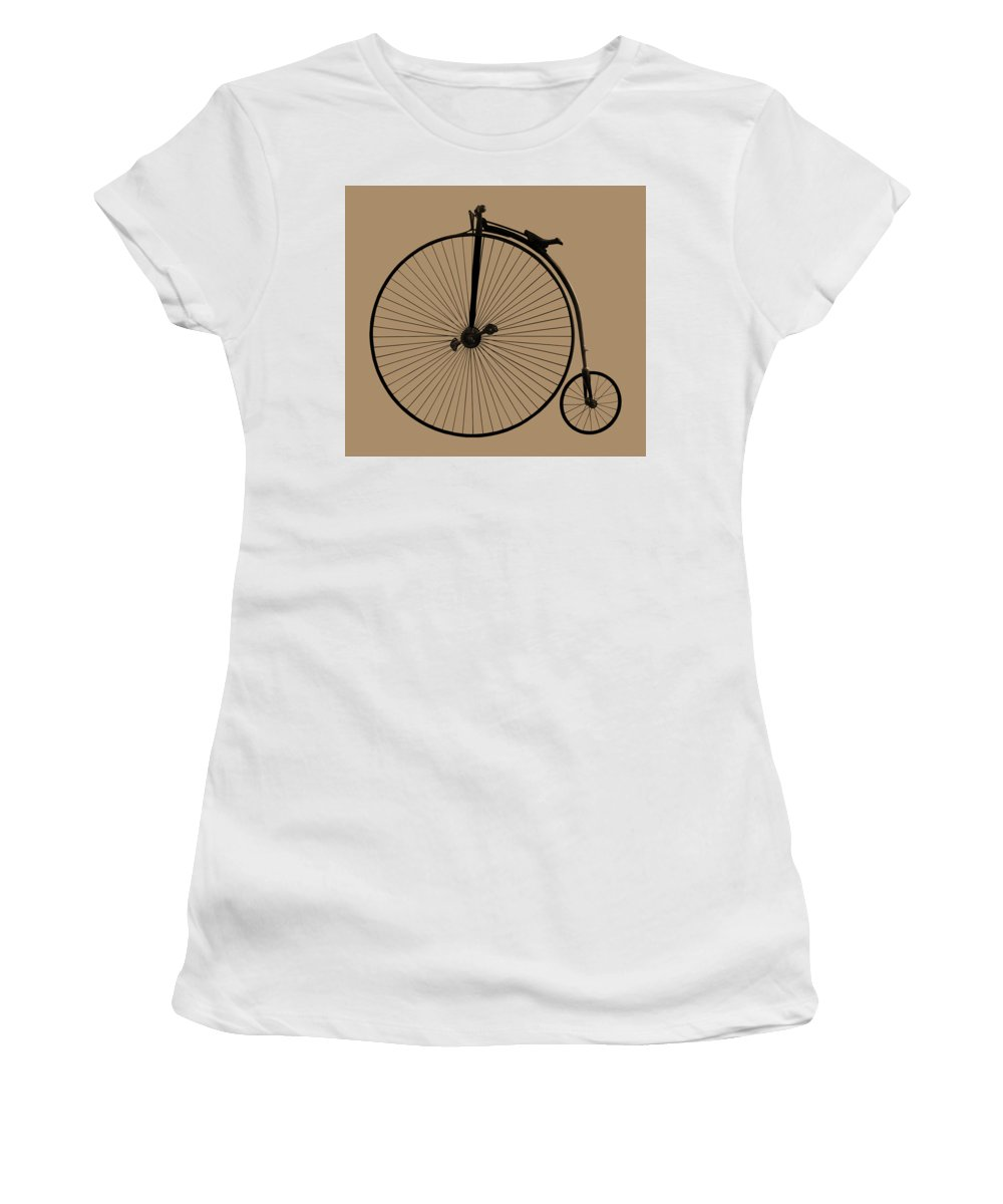 Penny Farthing Women's T-Shirt featuring the photograph Penny Farthing Sepia by Gill Billington