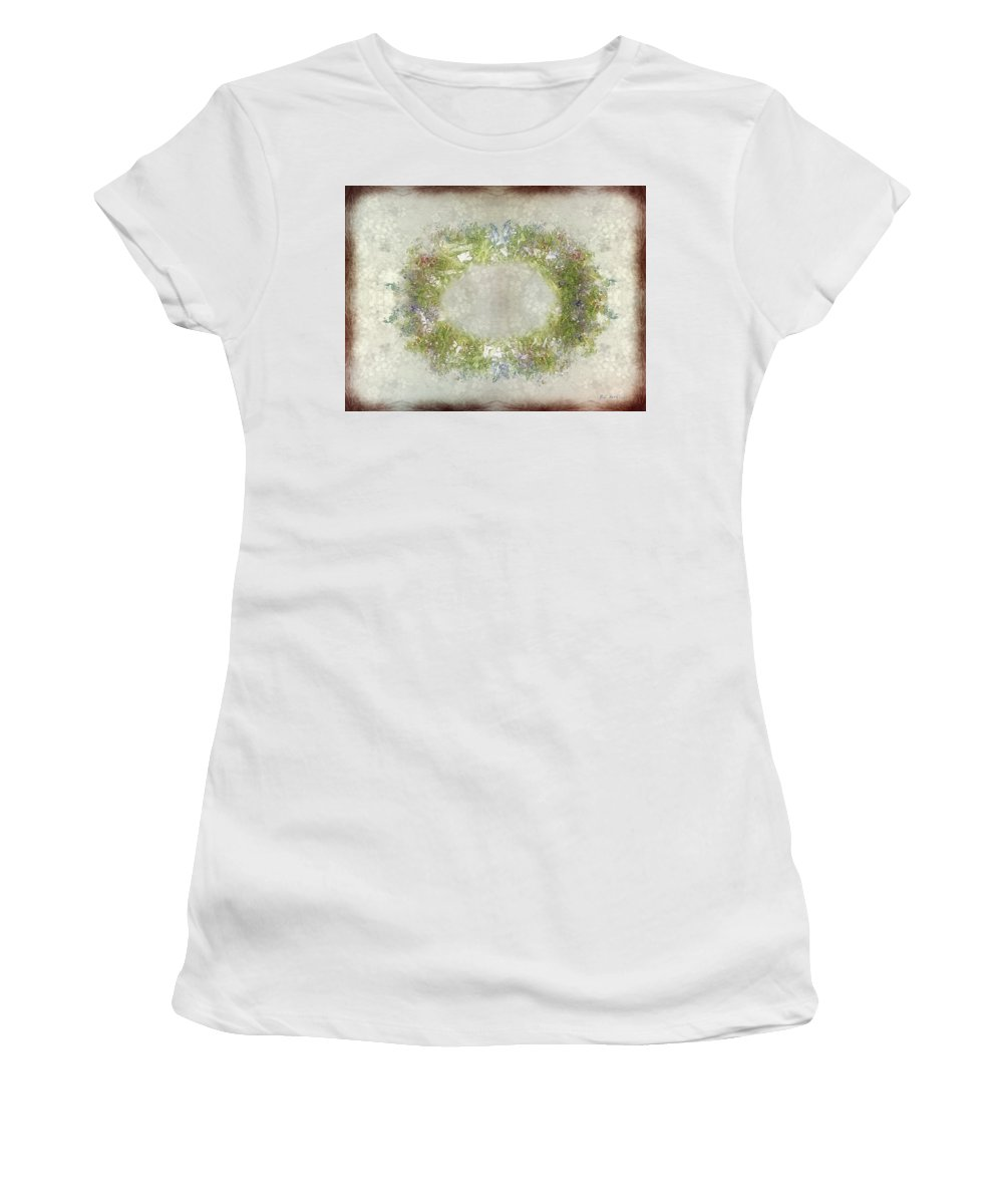 Flowers Women's T-Shirt (Athletic Fit) featuring the painting Penny Postcard Rustic by RC DeWinter