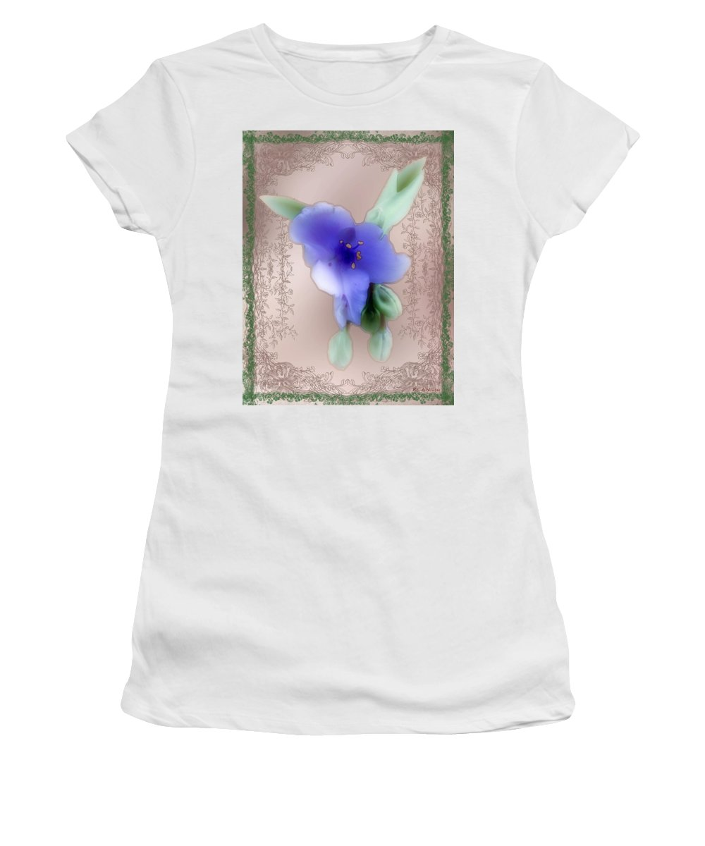 Blossoms Women's T-Shirt (Athletic Fit) featuring the painting Penny Postcard Wildflower by RC DeWinter