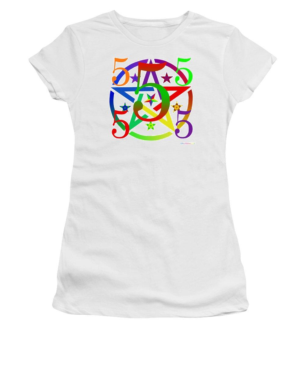 Pentacle Women's T-Shirt featuring the digital art Penta Pentacle White by Eric Edelman