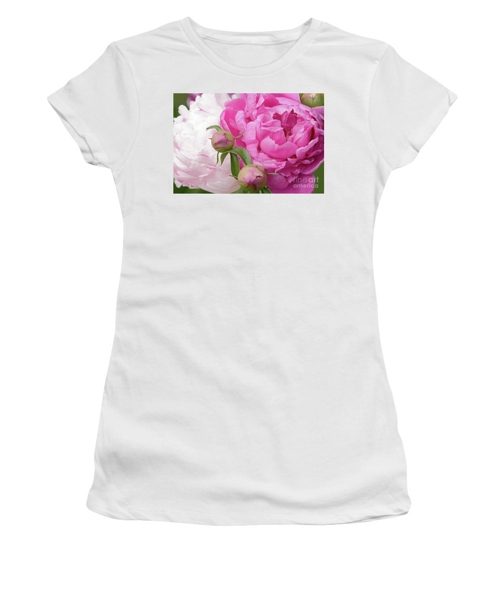 Peonies Women's T-Shirt featuring the photograph Peony Pair In Pink And White by Regina Geoghan