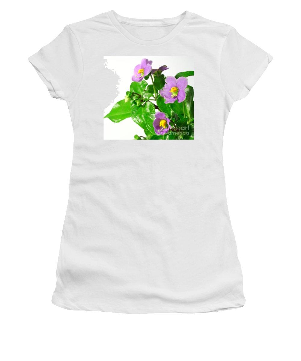 Closeup Women's T-Shirt (Athletic Fit) featuring the photograph Persian Violets by Gaspar Avila