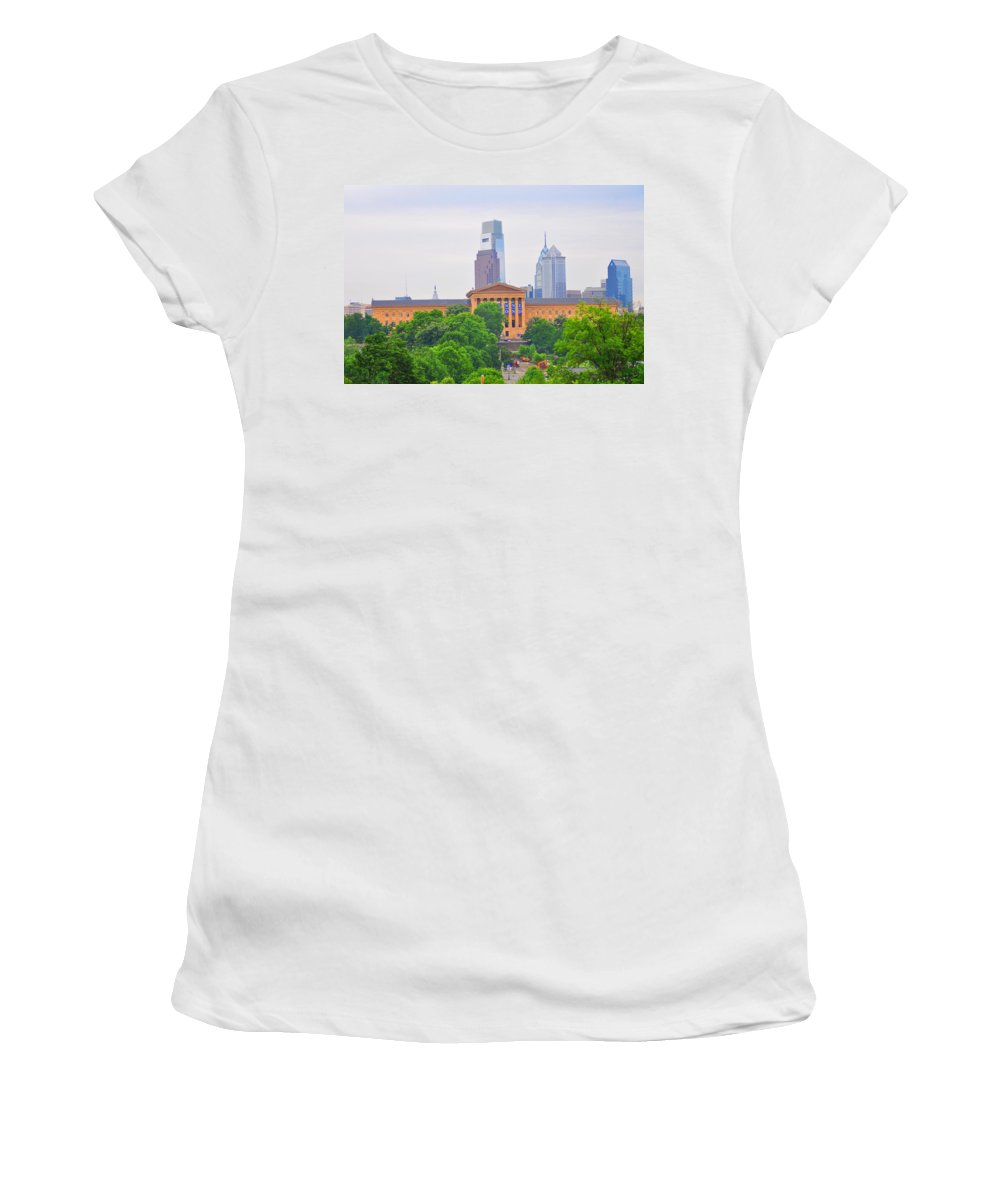 Philadelphia Women's T-Shirt (Athletic Fit) featuring the photograph Philadelphia Museum Of Art From Lemon Hill by Bill Cannon