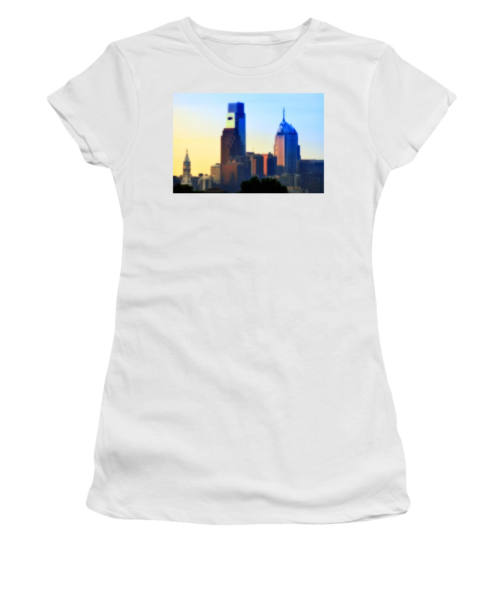 Philadelphia Women's T-Shirt (Athletic Fit) featuring the photograph Philly Morning by Bill Cannon