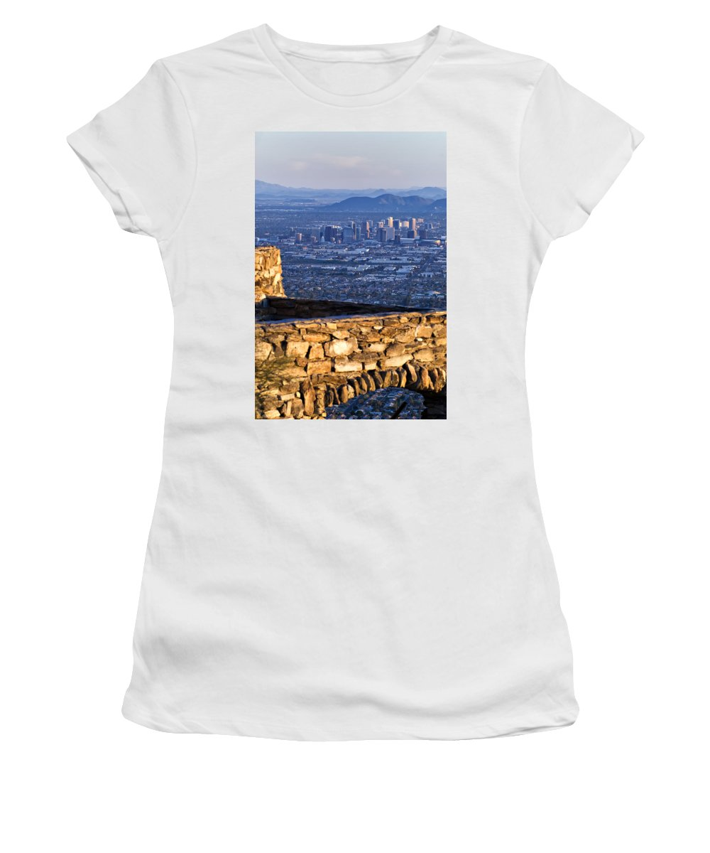 Phoenix Women's T-Shirt (Athletic Fit) featuring the photograph Phoenix Sunrise by Renee Hong
