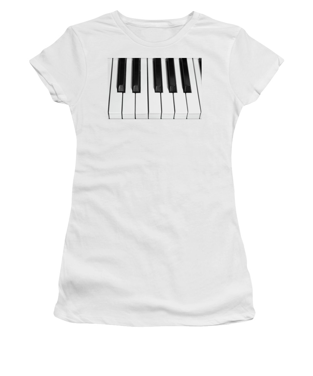 Piano Women's T-Shirt featuring the photograph Piano Octave Bw by James BO Insogna