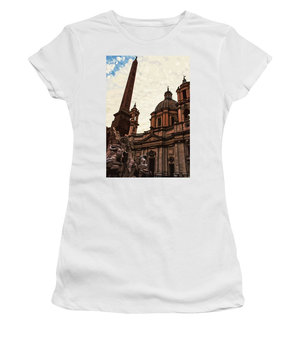 Rome Women's T-Shirt (Athletic Fit) featuring the painting Piazza Navona At Sunset, Rome by Andrea Mazzocchetti