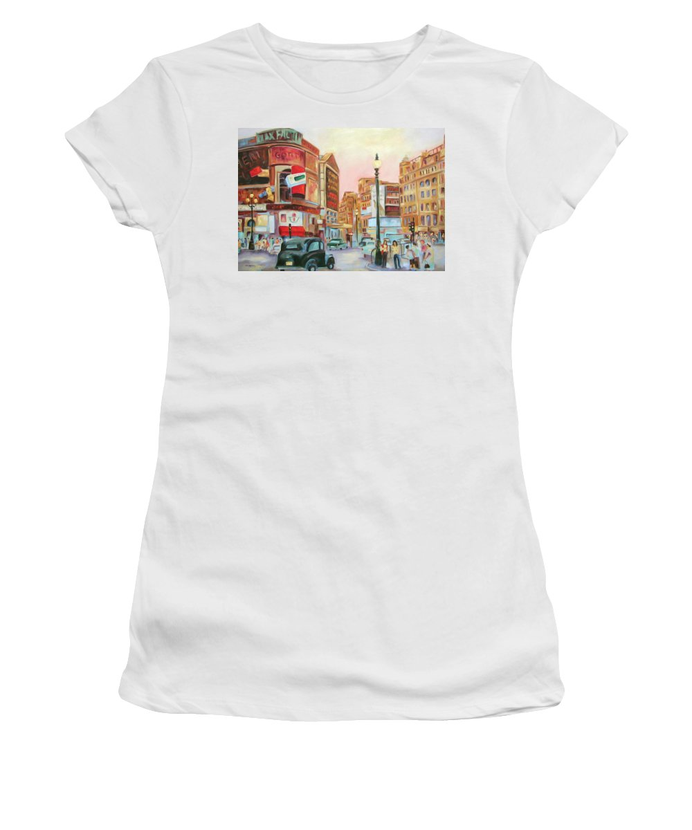 Cityscape Women's T-Shirt (Athletic Fit) featuring the painting Picadilly by Ginger Concepcion