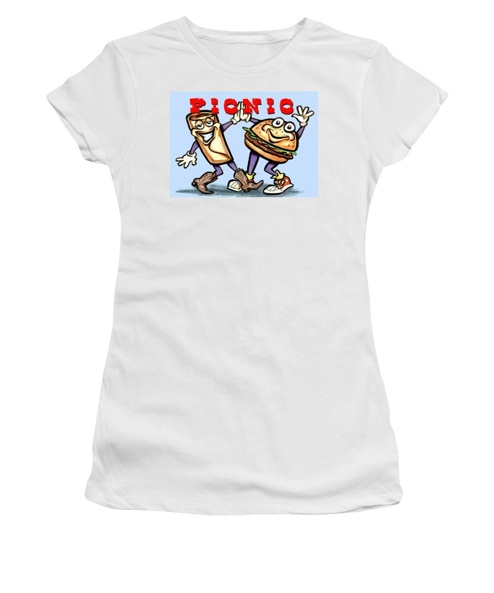 Picnic Women's T-Shirt featuring the greeting card Picnic by Kevin Middleton