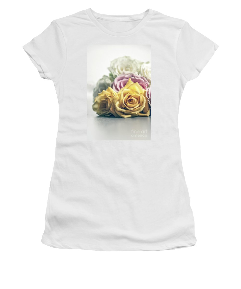 Pink Women's T-Shirt (Athletic Fit) featuring the photograph Pile Of Roses by Chellie Bock