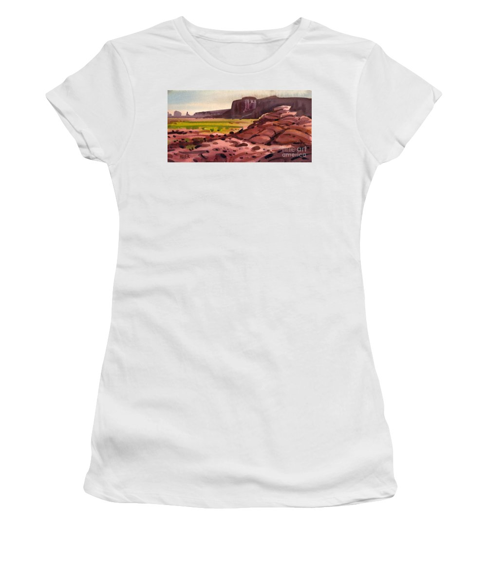 Monument Valley Women's T-Shirt (Athletic Fit) featuring the painting Pillow Rocks by Donald Maier