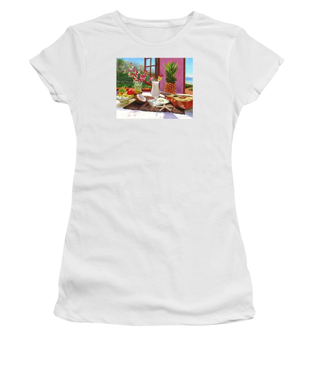 Pina Colada Women's T-Shirt (Athletic Fit) featuring the painting Pina Colada by Steve Simon