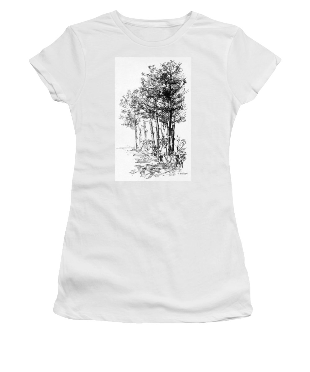 Pine Women's T-Shirt (Athletic Fit) featuring the drawing Pine Trees by Iliyan Bozhanov