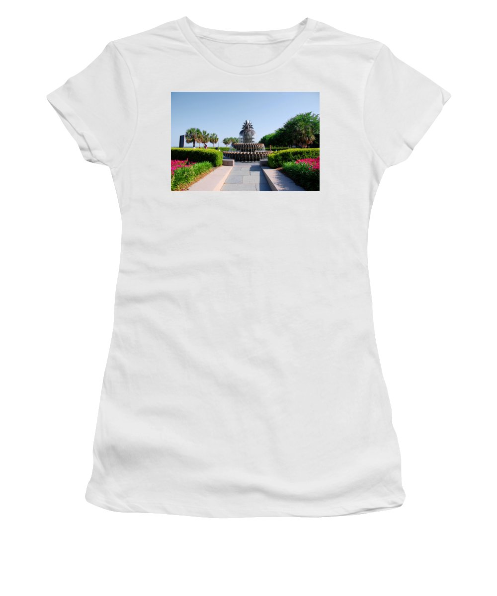 Photography Women's T-Shirt (Athletic Fit) featuring the photograph Pineapple Fountain In Charleston by Susanne Van Hulst