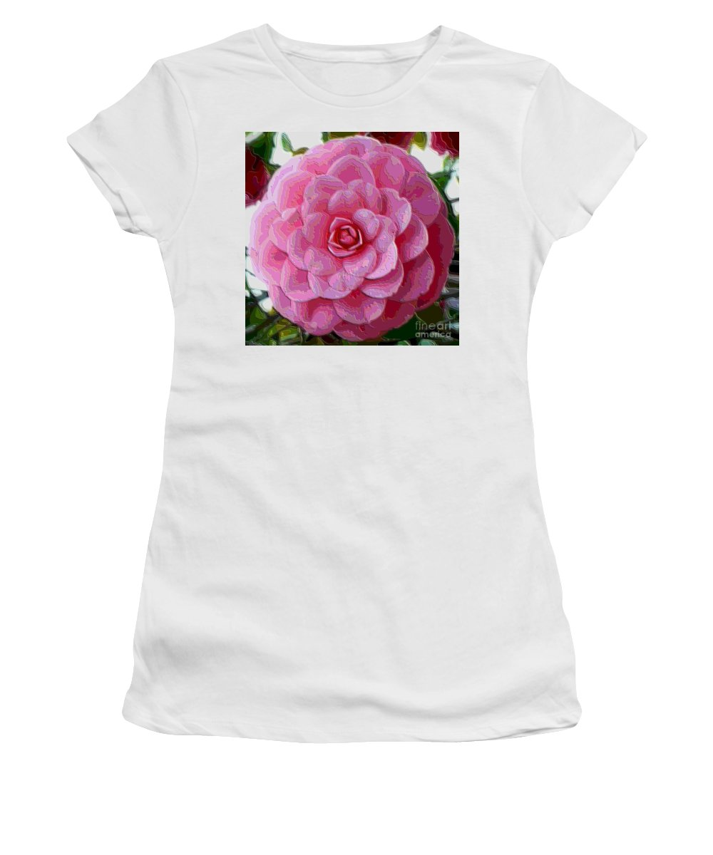 Pink Flower Women's T-Shirt (Athletic Fit) featuring the photograph Pink Camellia Dream by Carol Groenen