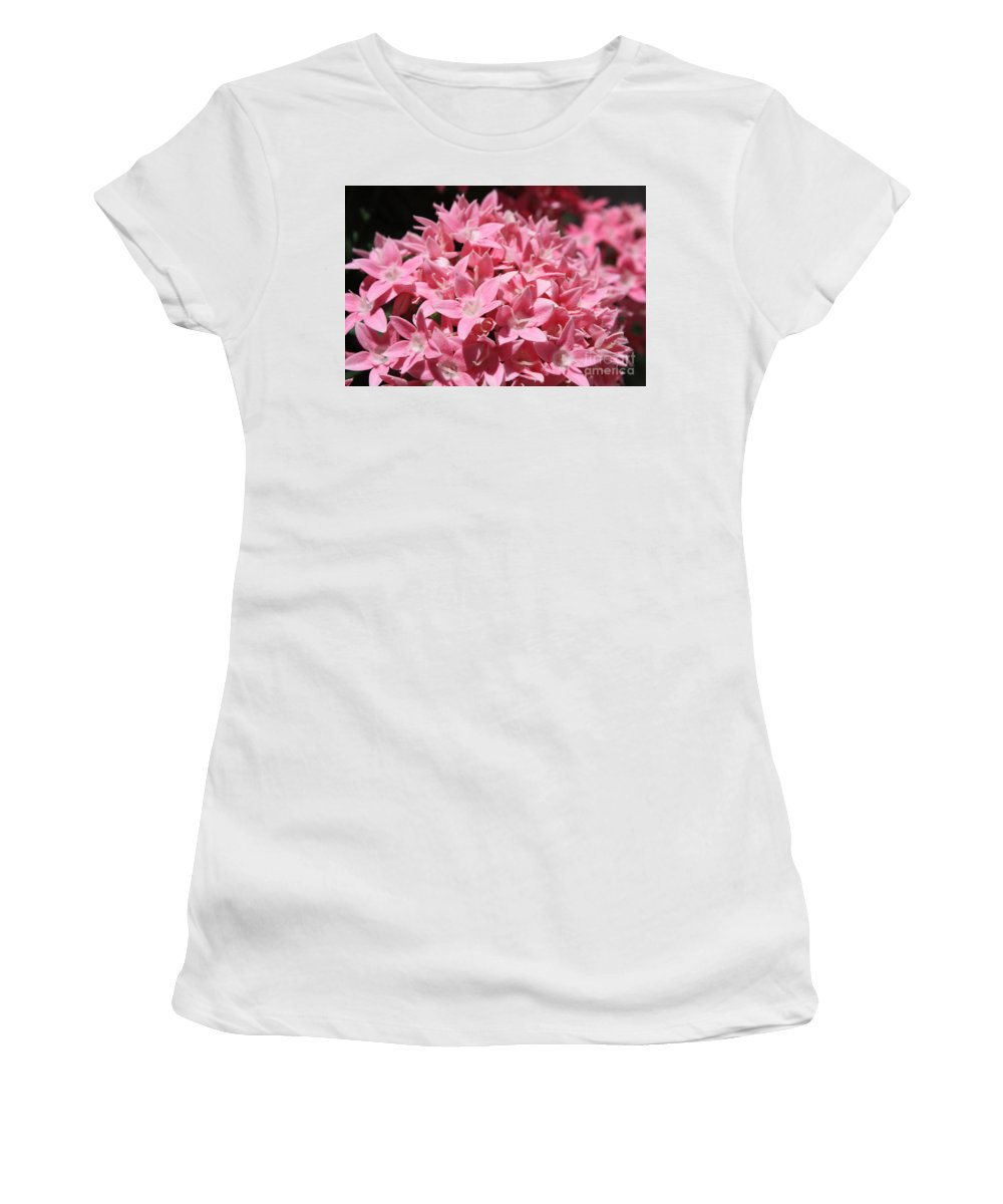 Pink Pentas Women's T-Shirt (Athletic Fit) featuring the photograph Pink Pentas Beauties by Carol Groenen