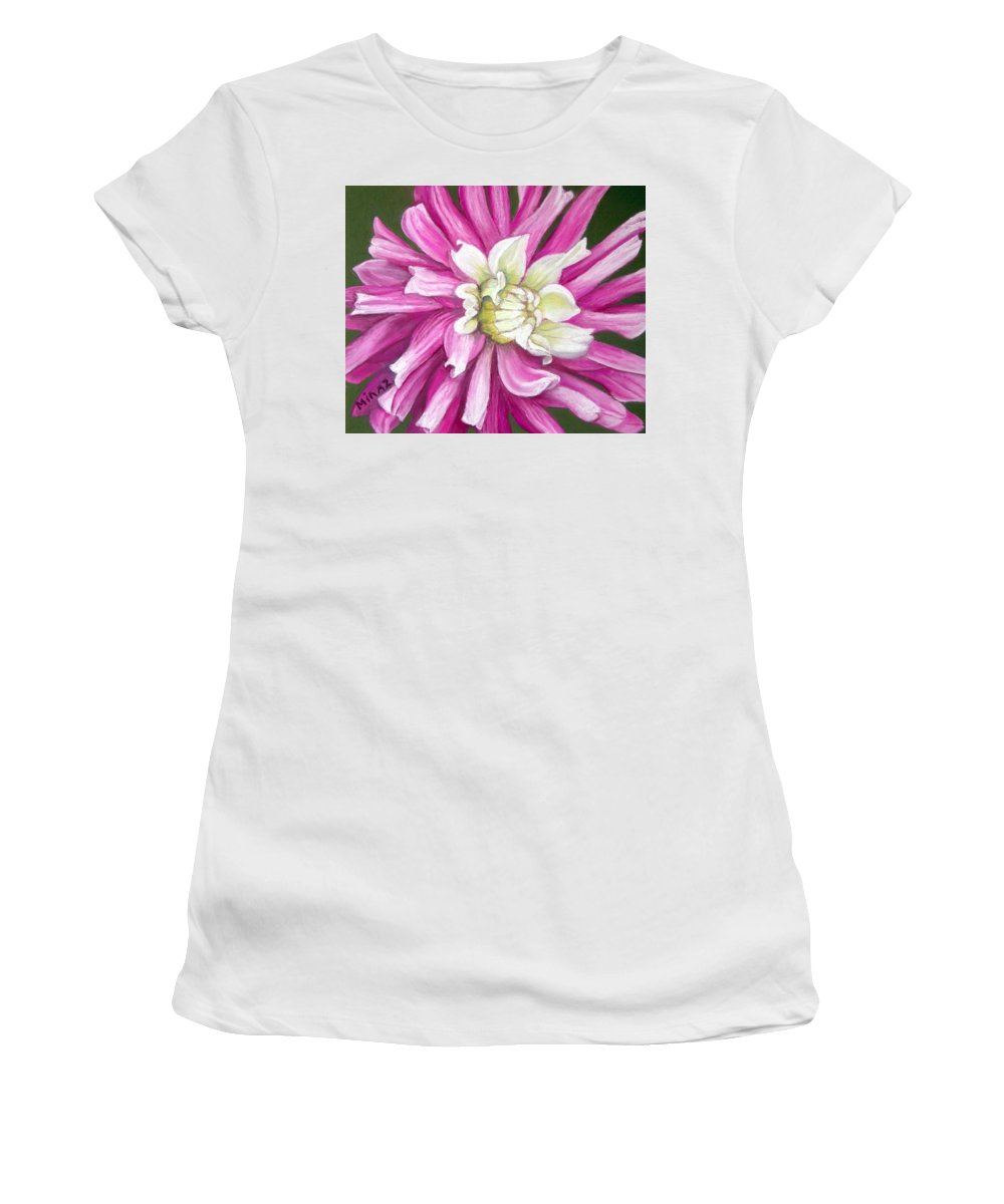 Floral Women's T-Shirt (Athletic Fit) featuring the painting Pink Petal Blast by Minaz Jantz
