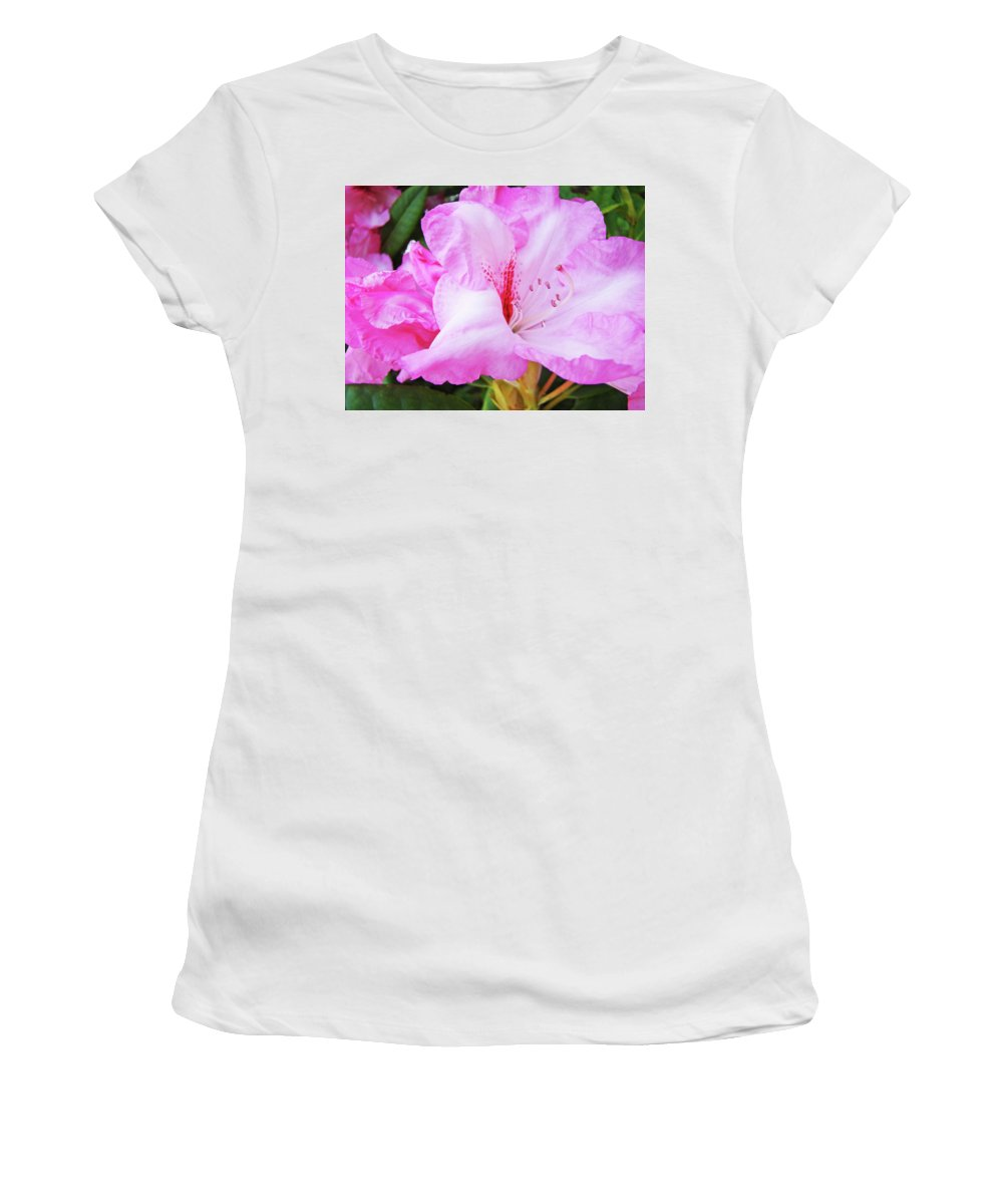 Rhodie Women's T-Shirt (Athletic Fit) featuring the photograph Pink Rhododendron Art Print Floral Canvas Rhodies Baslee Troutman by Baslee Troutman