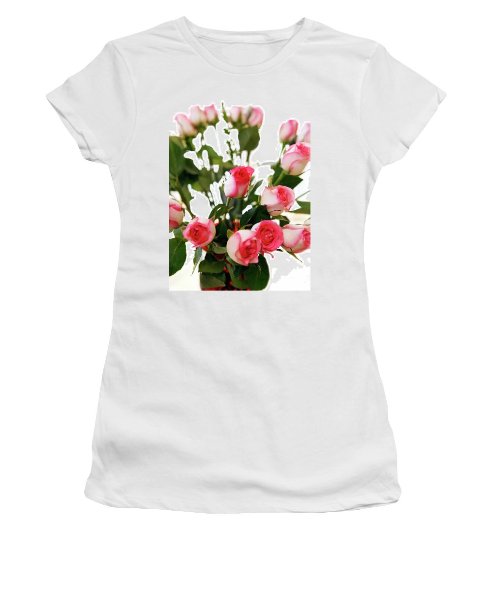 Pink Women's T-Shirt (Athletic Fit) featuring the photograph Pink Trimmed Roses by Marilyn Hunt