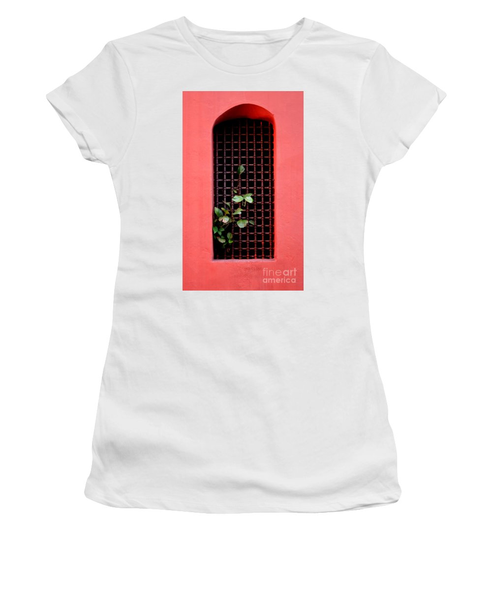 Windo Women's T-Shirt (Athletic Fit) featuring the photograph Pink Window In Cartegena by Thomas Marchessault