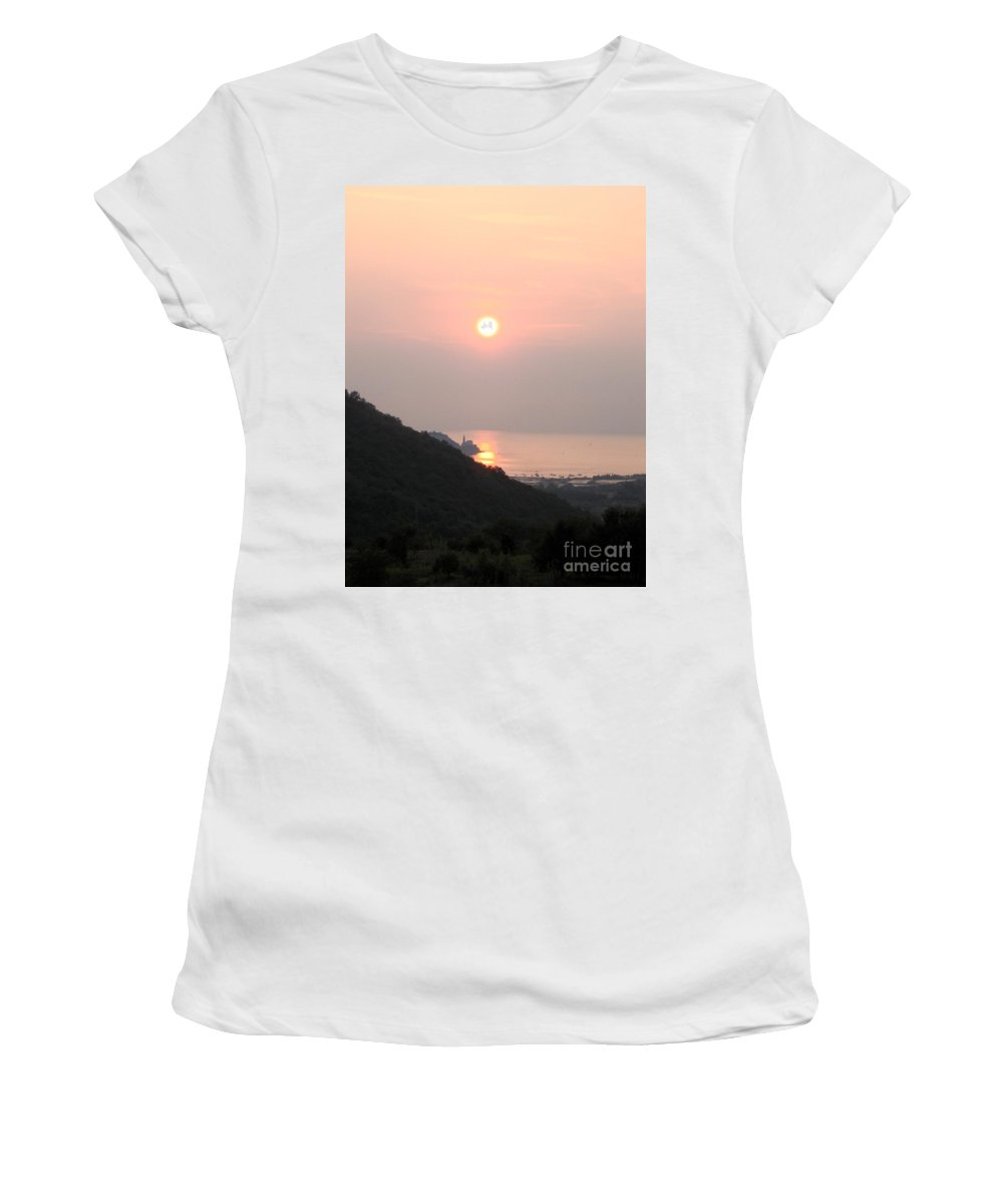 Sunset Women's T-Shirt (Athletic Fit) featuring the photograph Piran's Sunset II by Dragica Micki Fortuna