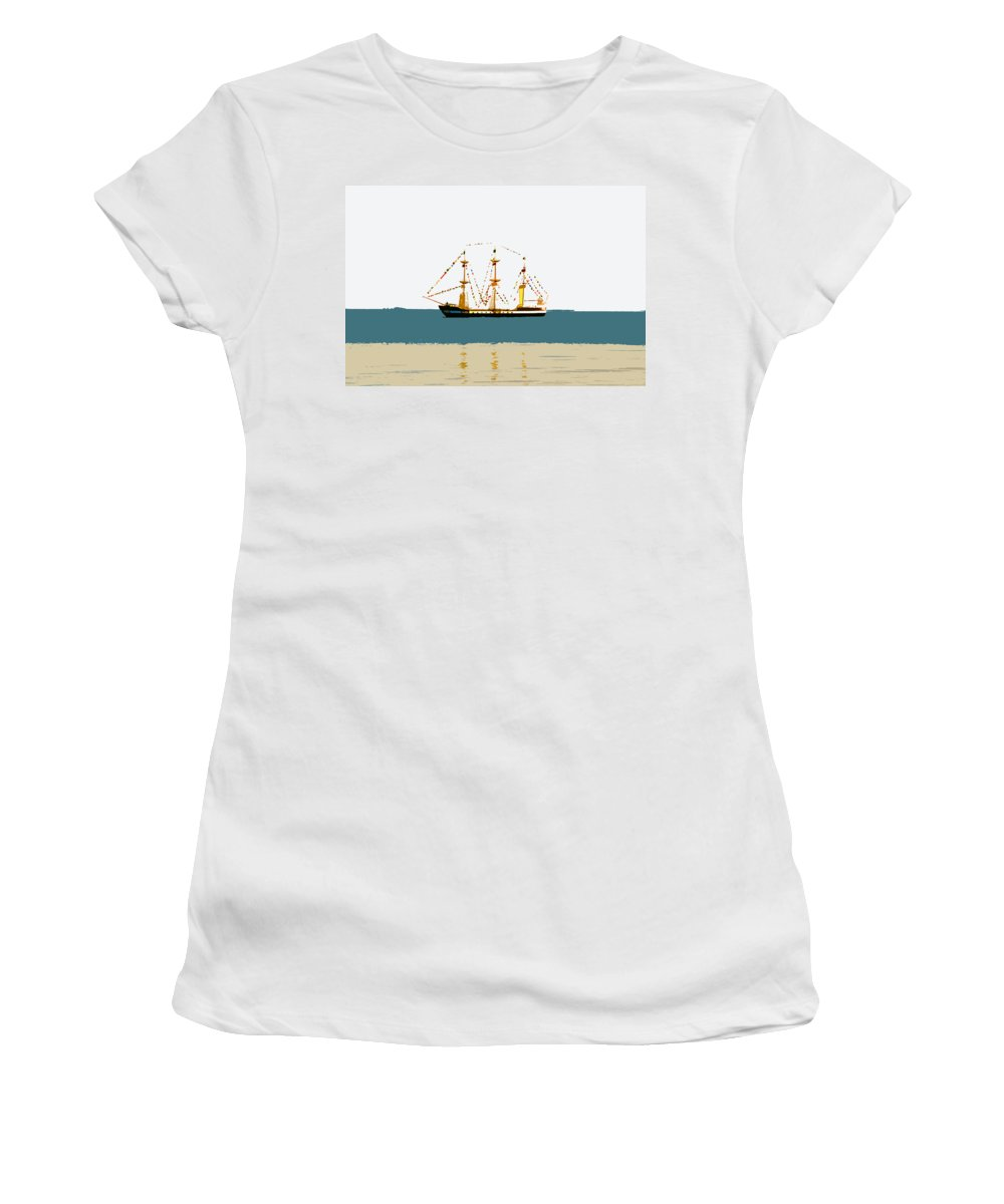 Pirate Ship Women's T-Shirt (Athletic Fit) featuring the painting Pirate Ship On The Horizon by David Lee Thompson
