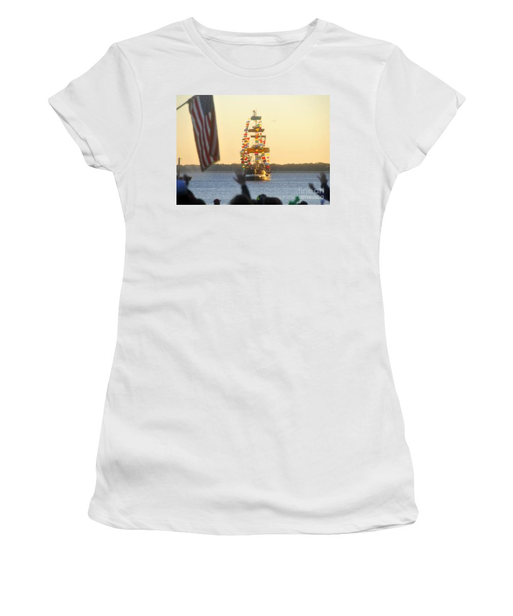 Gasparilla Children's Parade Women's T-Shirt (Athletic Fit) featuring the photograph Pirate's Arrival by David Lee Thompson