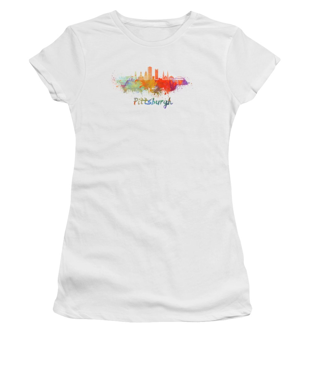 Pittsburgh Pittsburgh Skyline Women's T-Shirt (Athletic Fit) featuring the painting Pittsburgh V2 Skyline In Watercolor by Pablo Romero