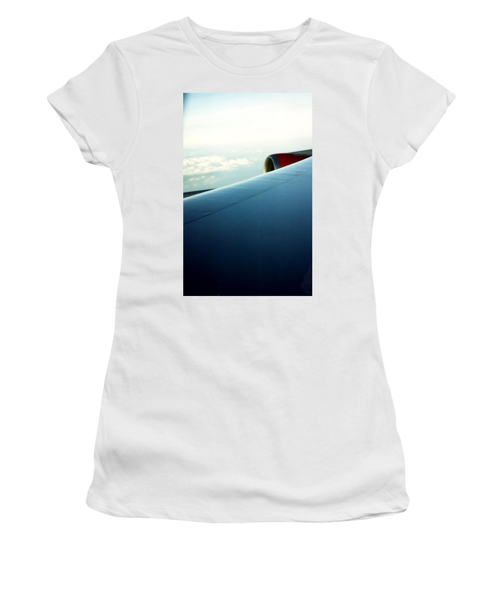 Aeroplane Women's T-Shirt (Athletic Fit) featuring the photograph Plane View by Catt Kyriacou