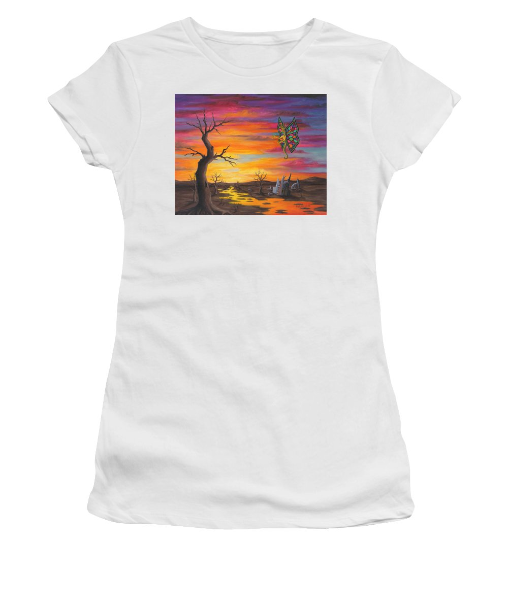 Fantasy Women's T-Shirt (Junior Cut) featuring the painting Planet Px7 by Roz Eve