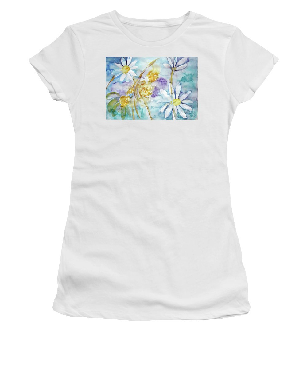 Flowers Women's T-Shirt featuring the painting Playfulness by Jasna Dragun