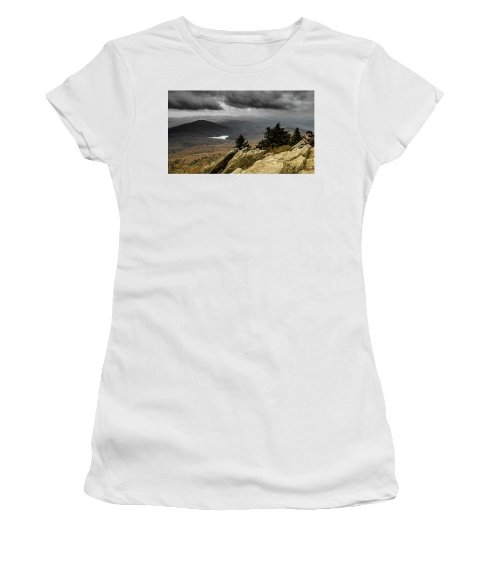 Landscape Women's T-Shirt (Athletic Fit) featuring the photograph Playing Away The Gray by Alex Walker