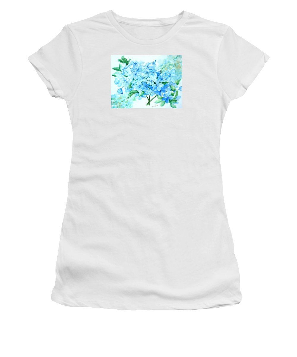 Floral Blue Painting Plumbago Painting Flower Painting Botanical Painting Bloom Blue Painting Women's T-Shirt (Athletic Fit) featuring the painting Plumbago by Karin Dawn Kelshall- Best