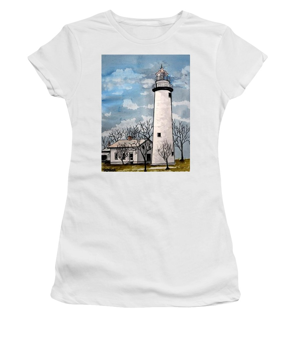Lighthouse Painting Women's T-Shirt (Athletic Fit) featuring the painting Point Aux Barques Lighthouse by Derek Mccrea