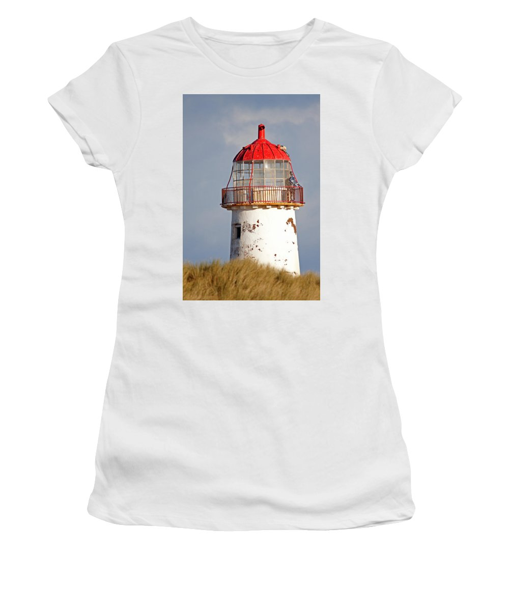 Point Of Ayr Women's T-Shirt (Athletic Fit) featuring the photograph Point Of Ayr Lighthouse North Wales by Bob Kemp