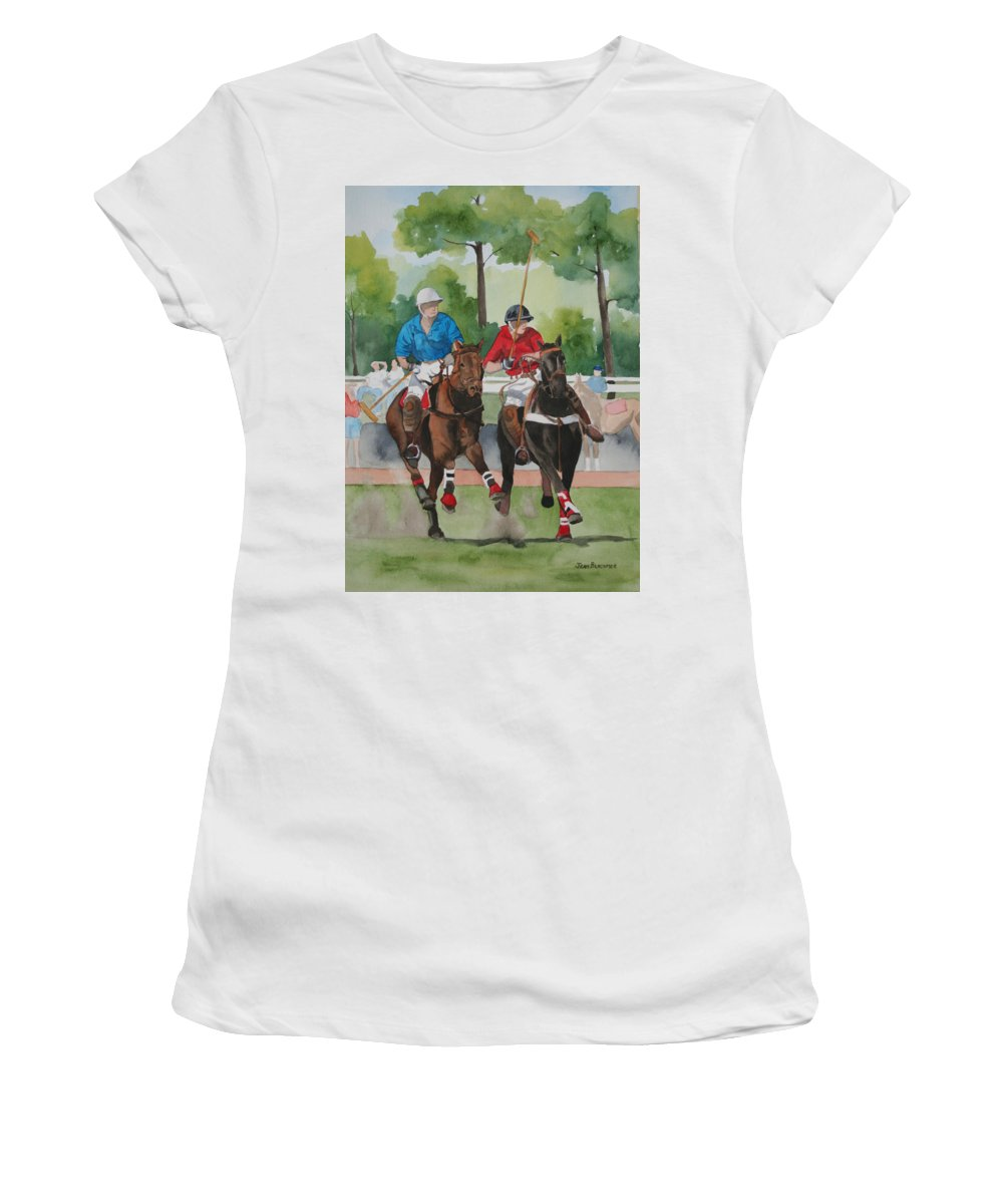 Polo Women's T-Shirt (Athletic Fit) featuring the painting Polo In The Afternoon 2 by Jean Blackmer