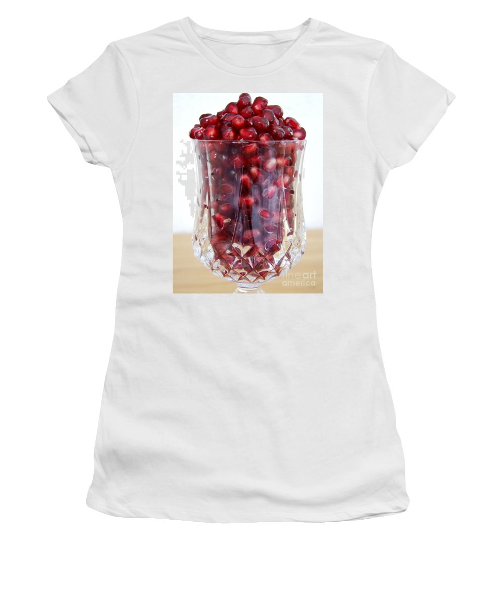 Mary Deal Women's T-Shirt featuring the photograph Pomegranate In Crystal Glass by Mary Deal