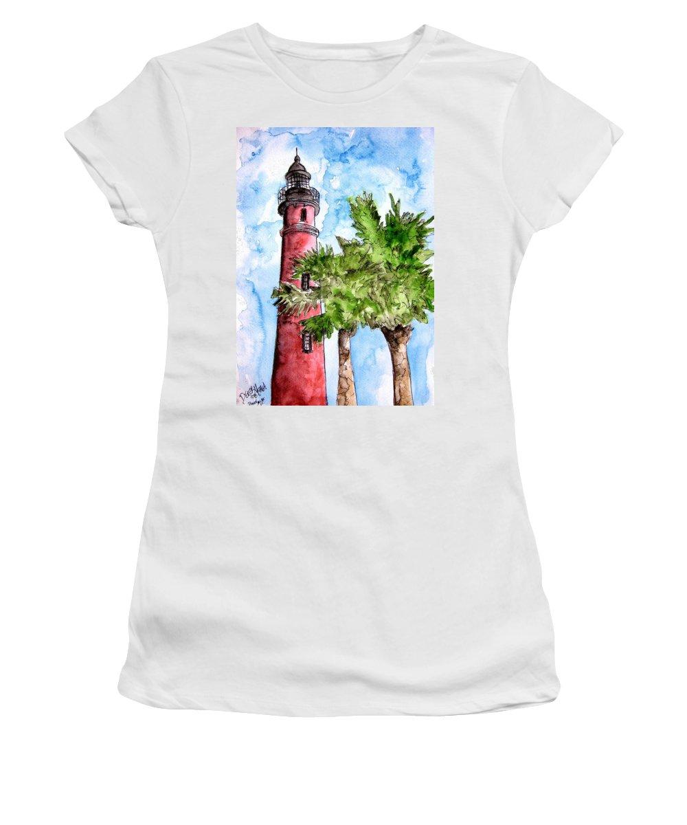 Ponce De Leon Women's T-Shirt featuring the painting Ponce De Leon Inlet Florida Lighthouse Art by Derek Mccrea