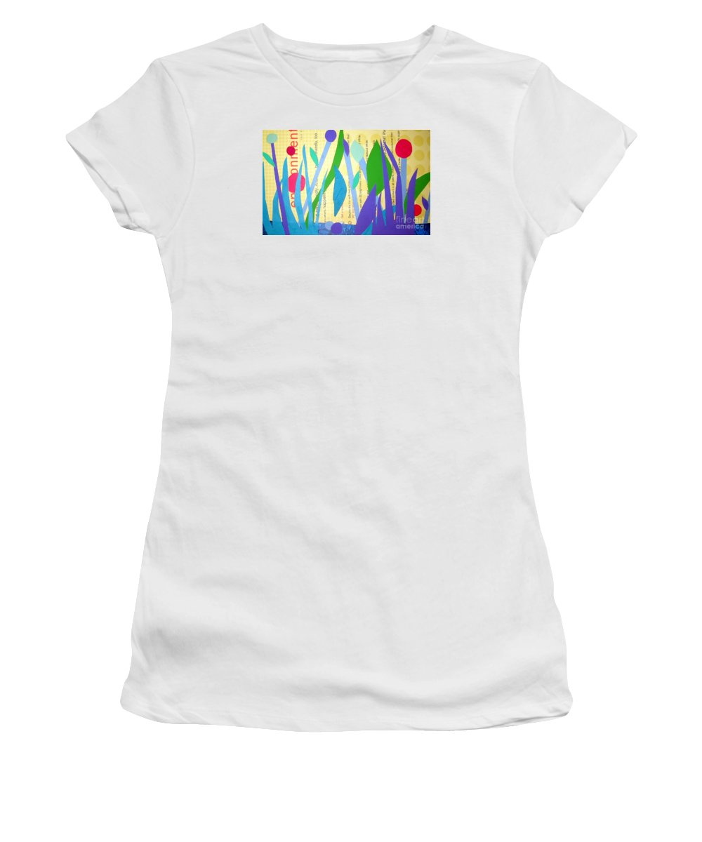 Landscape Women's T-Shirt featuring the mixed media Pond Life by Debra Bretton Robinson