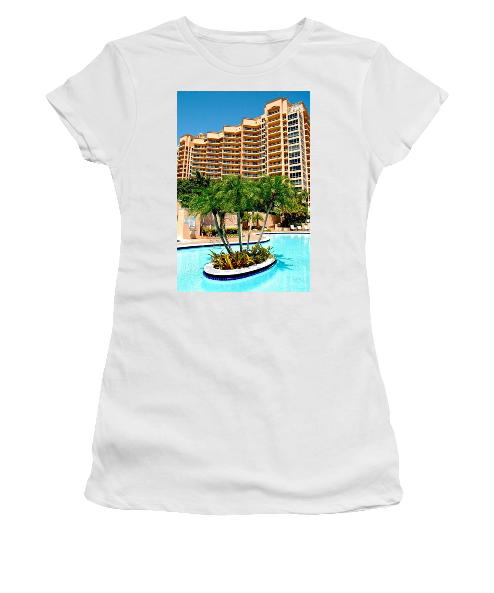Blue Sky Women's T-Shirt featuring the photograph Pool Island by Dale Chapel
