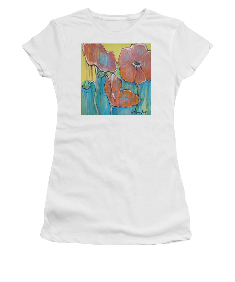 Pop Art Women's T-Shirt (Athletic Fit) featuring the painting Poppies 3 by Laurie Maves ART