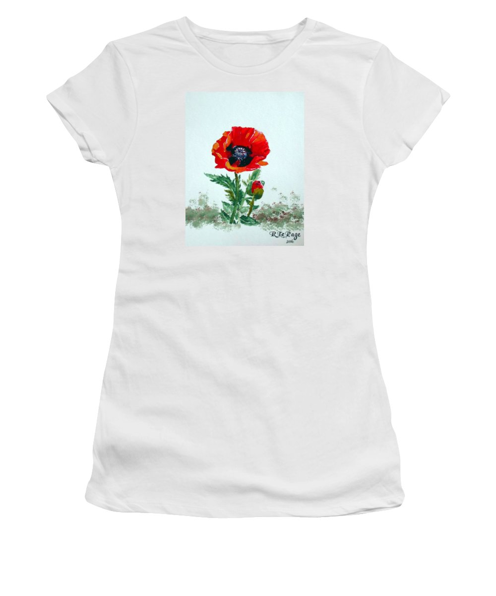 Flower Women's T-Shirt (Athletic Fit) featuring the painting Poppy by Richard Le Page